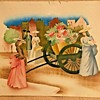 Street Scene: Four People around a Flower Cart signed Peters (#1538) for Newman Decor Inc (NYC)