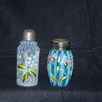 Victorian Art Glass shakers and condiment sets
