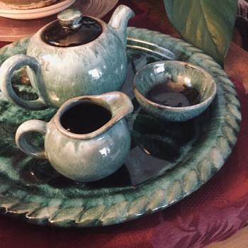 Blue Mountain Pottery, Single Serving Tea Set — Green Drip - Pottery