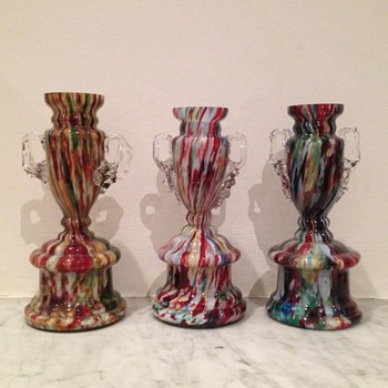 Three Welz spatter trophy vases