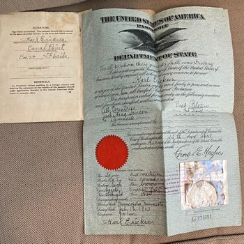 1920s US Passport - Paper