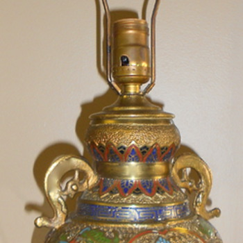 Antique Japanese Cloisonne and Champleve Brass Vase Lamp - Buddha Riding Foo Dog - Asian