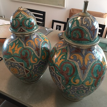 Large Vases With Silver Trim - Pottery