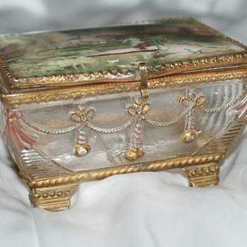 Interesting Pressed Glass and Ormolu Trinket Box - Glassware