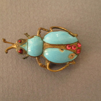 Vintage Enamel Bug Brooch & watch holder - Costume Jewelry