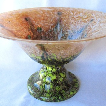 Large Anton Ruckl & Sons Glass Centerpiece Pedestal Bowl C1925 - Art Glass