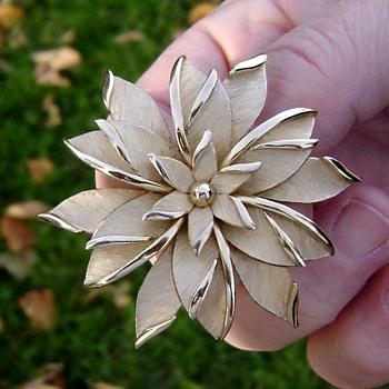 Trifari Poinsettia Flower Brooch - Costume Jewelry