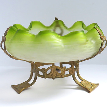 Bohemian Frosted Martele Bowl in Brass Mount - Art Glass