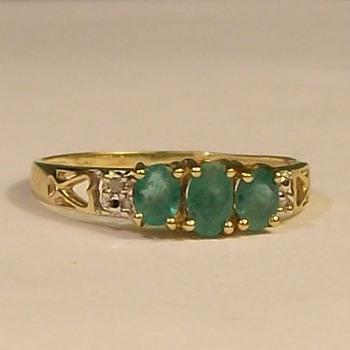 "Old 14k Emerald ""Trio"" Ring--Late 1940's - Fine Jewelry"