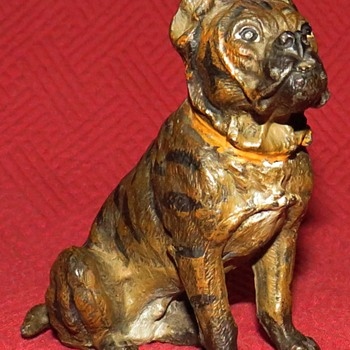 Vintage Cold Painted Spelter Boxer - Animals