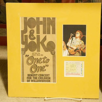 "John Lennon-""One To One"" ticket stub-1972 - Music Memorabilia"