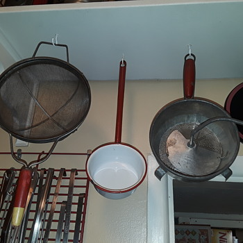 a couple more 'red handled' things to hang under the kitchen shelf - Kitchen