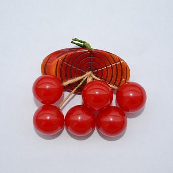 Bakelite 'Cherries on Log' Pin / Brooch - 1940's - Art Deco