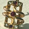 Russian 14KT Opal And Ruby Earring