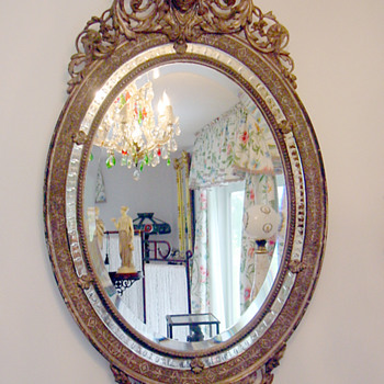 Antique Gilt Sterling Silver Oval Wall Mirror w Queen Cameo Hand Carved