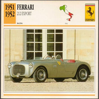 Vintage Car Card - Ferrari 212 Export - Cards