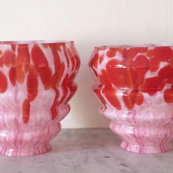 Pair of Welz Art Deco shades - Art Glass