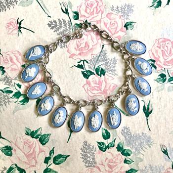 Wedgwood Sterling Silver Blue Jasperware Floral Cameo Charm Bracelet - Fine Jewelry
