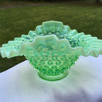 Fenton Hobnail Green Opaque Candy Dish -- or not? - Glassware