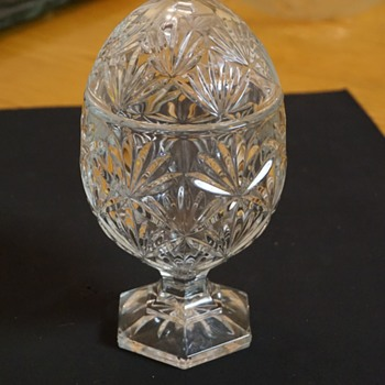Egg Shaped Glass Candy Dish with Lid - Glassware