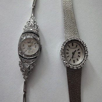 14 K diamond watch, 18K Art Deco diamonds sapphire watch - Wristwatches