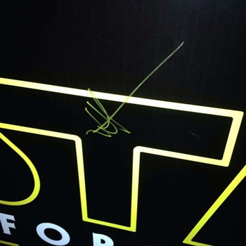 Star Wars the Force Awakens European premiere Barrier board signed by J.J Abrams and another person.   - Movies