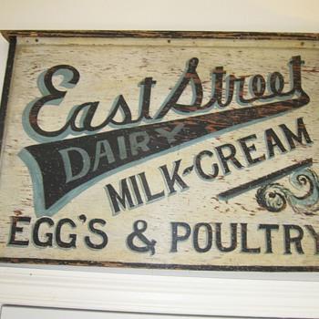 Antique Trade Sign Hand Painted Dairy Eggs Milk Cream Estreet - Signs