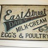 Antique Trade Sign Hand Painted Dairy Eggs Milk Cream Estreet