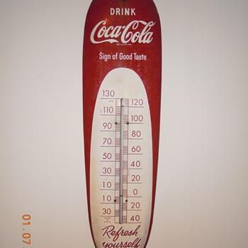 """1950's, 30"""" Tin, Coca-Cola Thermometer - Coca-Cola"""