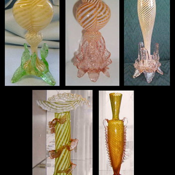 "Pin Striped Décors and Shapes & ""his explanation about these"". - Art Glass"