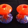 Old Czechoslovakian Mushroom-shaped Fiery Orange Spatter Glass Candleholders