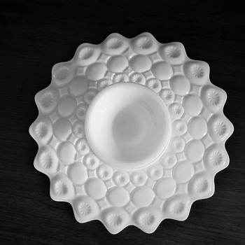 Milk glass cake, cheese plate