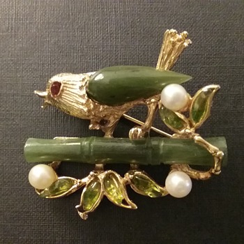 Swoboda bird on branch brooch  - Costume Jewelry