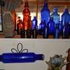 Cobalt Blue Glass Rolling Pin Plus Blue Bottles