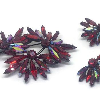 Tri Flower Sherman Siam Japanned Brooch & Earrings - Costume Jewelry