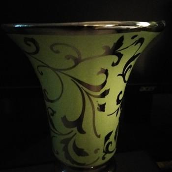 Art Deco Green & Silver Porcelain Vase - Art Deco