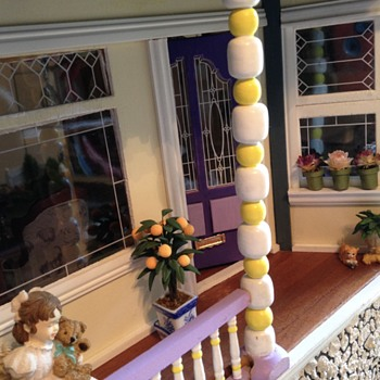 My Victorian Painted Lady Dollhouse, porch and living room - Dolls