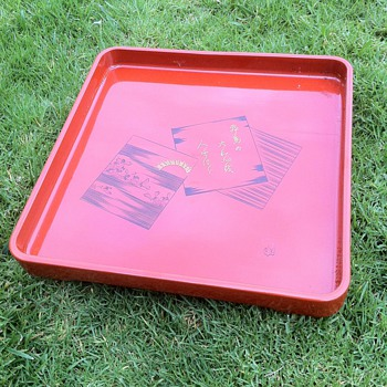 Negoro Oshiki Style Red Lacquer Ware Tray - Asian