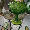 Green glass candy dish