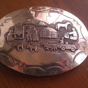 Vintage Western Motif Sterling Belt Buckle - Accessories