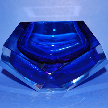 Blue Cobalt Murano ashtray - Art Glass