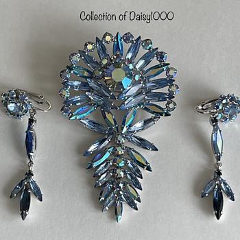 Sherman Jewelry — Brooch Set w/ Formal Earrings  - Costume Jewelry