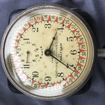 New England Telephone & Telegraph Co. marked Waltham 8-Day Car clock - Clocks