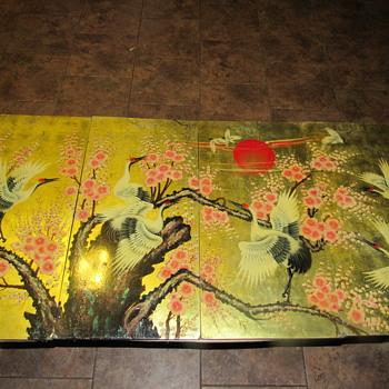 Asian / Korean laquered Crane wall art - Asian