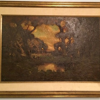 Very old Medieval Painting? Village, wooded scene. Signed,  lost work?  - Fine Art