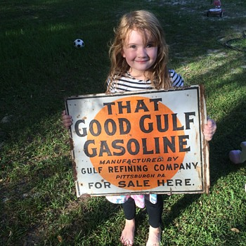 Good Gulf Gasoline flange sign - Petroliana