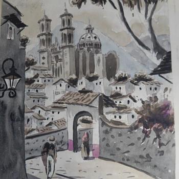 2 Vintage Mexican Watercolor Paintings - Maxx Vidal + Unknown Mex Artist- Help Identify. - Fine Art