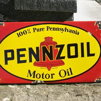 Pennzoil porcelain metal sign 1950 - value  - Signs