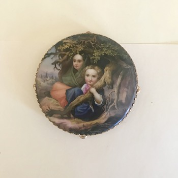 19th century personalized hand painted pin - Fine Jewelry