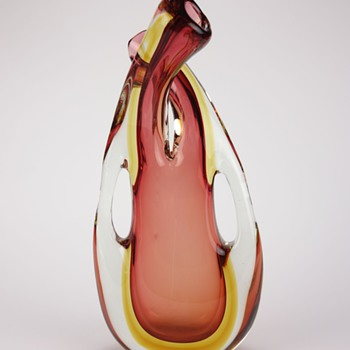 V. Nason Murano Double Neck Sommerso Glass Vase